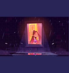 Unhappy lonely girl with smartphone window vector