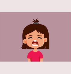 Upset little girl yelling cartoon vector