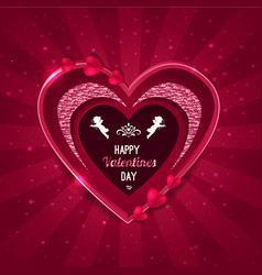 Valentines day background heart shape and cupid vector