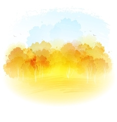 Watercolor autumn landscape vector image