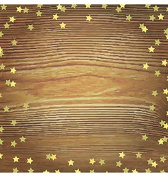 Wooden Background With Gold Stars vector image
