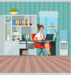 workspace of woman manager business lady at work vector image