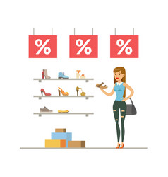 Young woman choosing and buying shoes girl vector