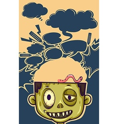 Zombie with worm on his head vector