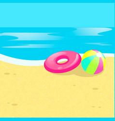 beach ball sea vector image vector image