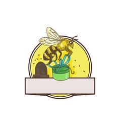 Bee Carrying Gift Box Skep Circle Drawing vector image
