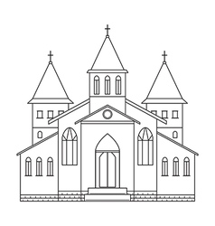 church building line art style vector image vector image