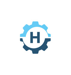 gear solution logo initial h vector image vector image
