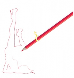 Pencil drawing woman figure vector