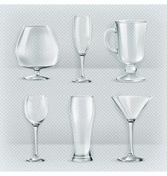 Set of transparent glasses goblets cocktail vector image