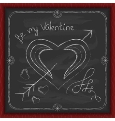 Valentines Day background chalk on a blackboard vector image