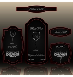 Wine labels collection black and red vector image