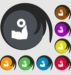 Arm muscle with dumbbell in hand icon sign Symbols vector image vector image