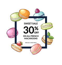 frame with flying hand drawn macaroons vector image vector image