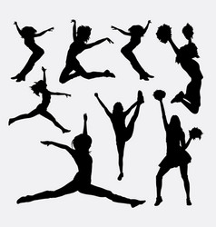 jumping cheerleader action silhouette vector image vector image