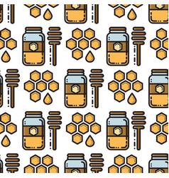 thin line honey jar and honeycomb seamless pattern vector image