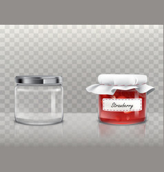 a set of of glass round jars vector image vector image