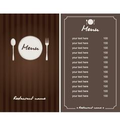 brown menu vector image vector image