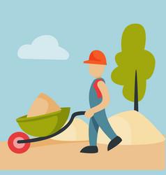 construction site worker handcart industry vector image vector image