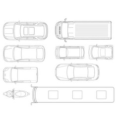 Set of cars top view in outline set of vector