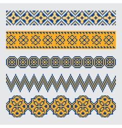 Set of pixel ethnic seamless border ornament vector image vector image