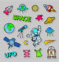 space ufo robots and aliens badges patches vector image vector image