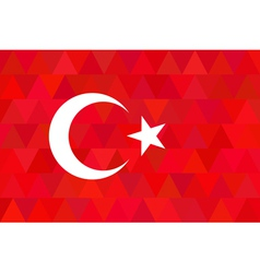 Turkey flag on unusual red triangles background vector image