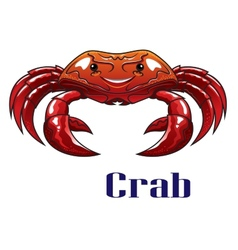 Cartoon red crab with big claws vector image