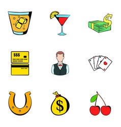 croupier icons set cartoon style vector image vector image