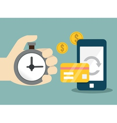 Flat concept of mobile banking and online payment vector image vector image