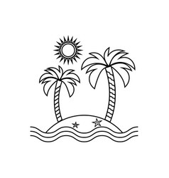 island linear icon travel tourism sun and palm vector image