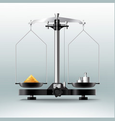 laboratory balance with weights dumbbells and vector image