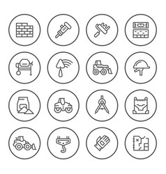 set round line icons of constructing industry vector image vector image