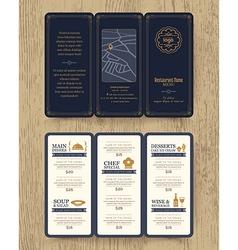 Vintage Restaurant menu design pamphlet vector image