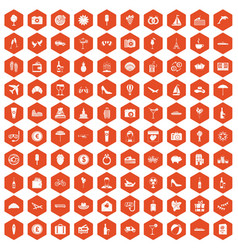 100 honeymoon icons hexagon orange vector