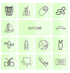 14 outline icons vector