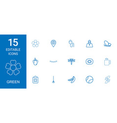 15 green icons vector image