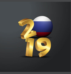 2019 golden typography with russia flag happy new vector