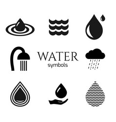 abstract water drop symbols set creative vector image