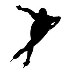 Athlete speed skater turn ice rink vector