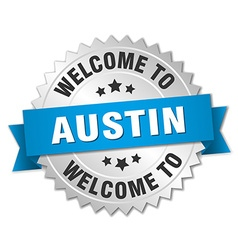 Austin 3d silver badge with blue ribbon vector