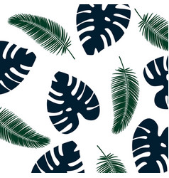 background tropical leaves pattern blue and green vector image