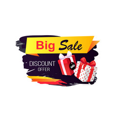 big sale discount offer badge with gifts and price vector image