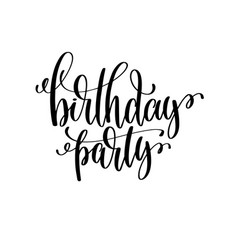 birthday party black and white handwritten vector image