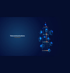 Blue abstract 3d isolated telecommunication tower vector