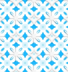 Blue ornament and white snowflakes seamless vector