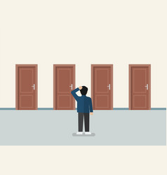 businessman choosing right door vector image