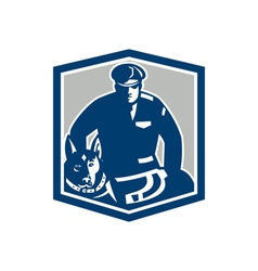Canine Policeman With Police Dog Retro vector