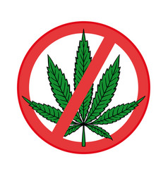 cannabis leaf in flat vintage style vector image