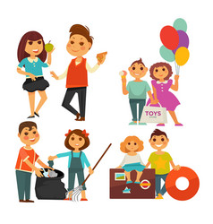 Childhood children eating buying toys cleaning vector